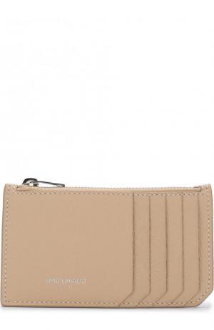 Кожаный футляр для кредитных карт Saint Laurent. Цвет: светло-розовый