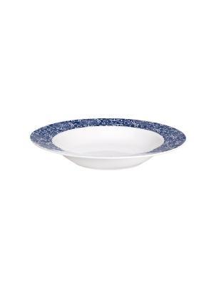 Набор тарелок суповых 20 см СИНИЕ УЗОРЫ 6 шт Miolla. Цвет: белый, синий