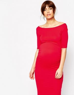 ASOS Maternity Платье для беременных с широкой горловиной. Цвет: красный