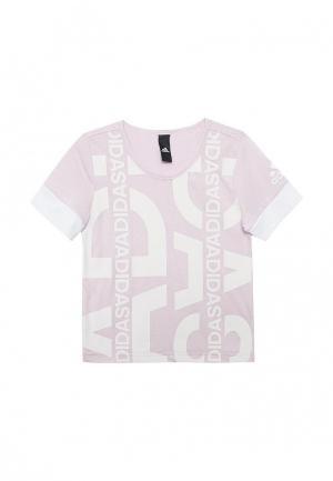 Футболка adidas. Цвет: розовый