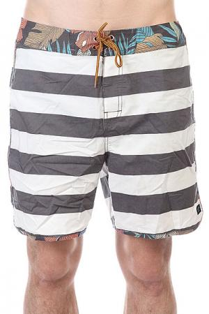Шорты пляжные  Calypso Boardie Vint Black Globe. Цвет: белый,серый