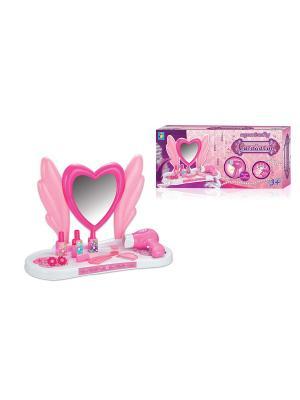 Игровой набор туалетный столик мал. сердце, 10 пр. в наборе, фен дует 1Toy. Цвет: розовый