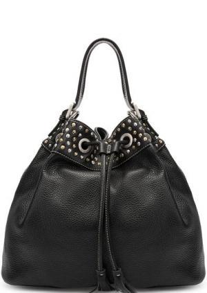 Черная кожаная сумка с металлическим декором Io Pelle. Цвет: черный