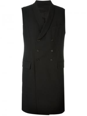 Двубортное пальто без рукавов Ann Demeulemeester. Цвет: чёрный