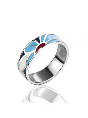 Кольцо в стиле А-Ля-Рус с узором под Хохлому KU&KU. Цвет: темно-синий, белый, голубой