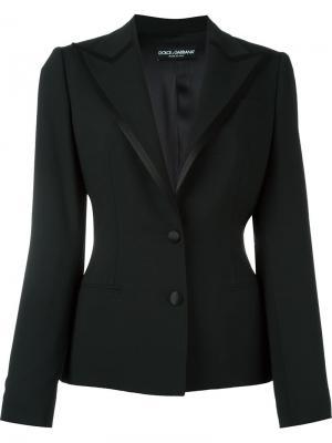 Приталенный пиджак с атласной оторочкой Dolce & Gabbana. Цвет: чёрный