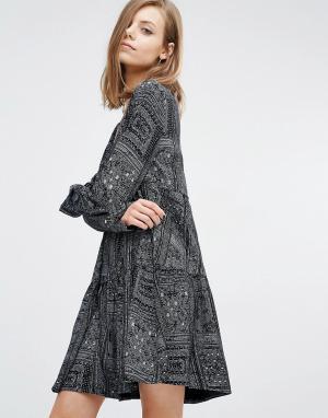 BA&SH Свободное платье с геометрическим принтом Mimsy. Цвет: черный
