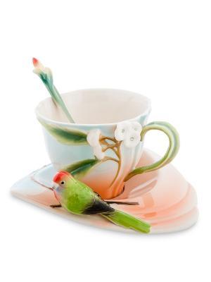 Чайная пара Попугай Розелла (Pavone) Pavone. Цвет: голубой, розовый