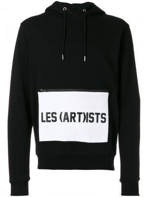 Толстовка с капюшоном принтом логотипа на кармане Les (Art)Ists. Цвет: чёрный