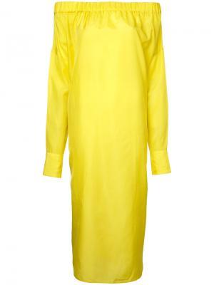Платье с открытыми плечами 08Sircus. Цвет: жёлтый и оранжевый
