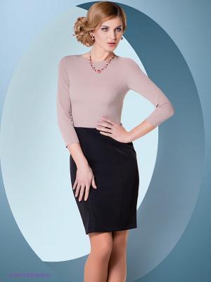 Платье Colambetta. Цвет: бежевый, черный