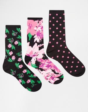 Fruitcake Комплект из 3 пар носков с рисунком в горошек и цветочек Bam. Цвет: мульти