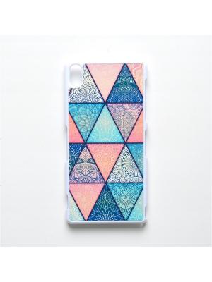 Чехол для Sony Xperia Z3 Геометрический принт Boom Case. Цвет: бирюзовый, розовый