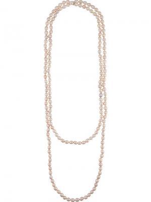 Колье из искусственного жемчуга Chanel Vintage. Цвет: розовый и фиолетовый