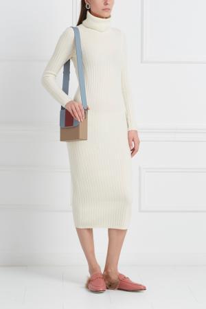 Платье из шерсти мериноса с кашемиром Mixer. Цвет: белое золото