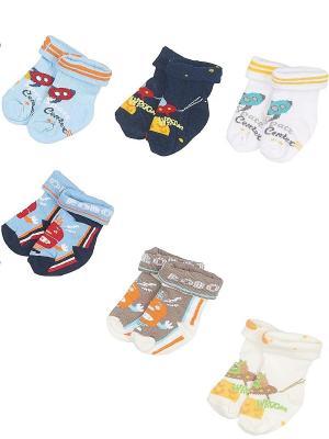 Носки ясельные, комплект 6 пар DAG. Цвет: синий, белый