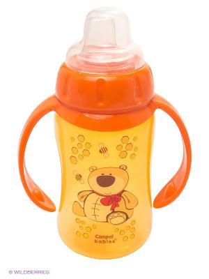 Поильник обучающий с силиконовым носиком и ручками, 320 мл. 6+, цвет: оранжевый Canpol babies. Цвет: оранжевый