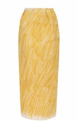 Хлопковая юбка-карандаш Vika Gazinskaya. Цвет: желтый