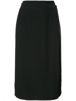 Прямая юбка с запахом Akris Punto. Цвет: чёрный