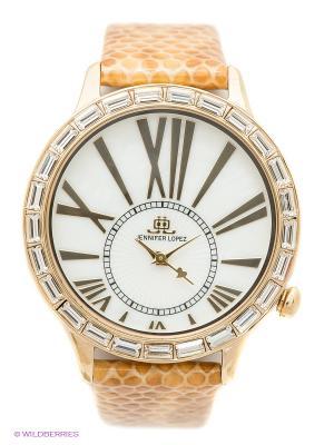 Часы JENNIFER LOPEZ. Цвет: светло-коричневый, золотистый, белый