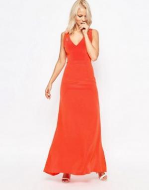 Suboo Шелковое платье макси Tangerine. Цвет: оранжевый