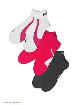 Носки, 3 пары Puma. Цвет: серый, фуксия, белый