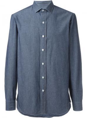 Классическая рубашка шамбре Salvatore Piccolo. Цвет: синий
