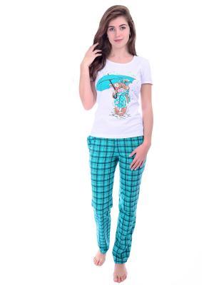 Пижама Малина. Цвет: бирюзовый, белый