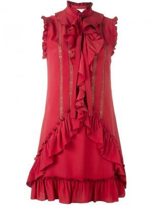 Платье с оборками Zuhair Murad. Цвет: красный