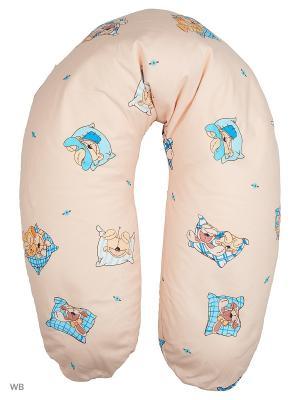Подушка для беременных и кормящих EUROMAMA. Цвет: синий, бежевый