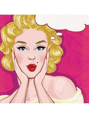 Art Холст Милая блондинка  25х25 см DECORETTO. Цвет: белый, фуксия, желтый
