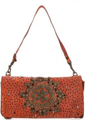 Кожаная сумка с металлическим декором Campomaggi. Цвет: оранжевый