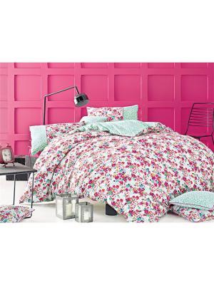 Комплект постельного белья MERCY ранфорс, 145ТС, 1,5х ISSIMO Home. Цвет: розовый