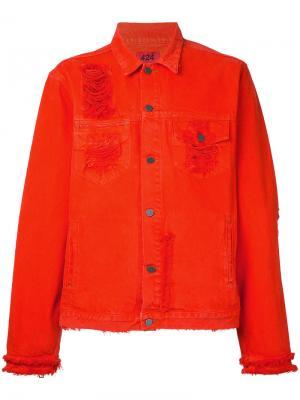 Рваная джинсовая куртка 424 Fairfax. Цвет: жёлтый и оранжевый