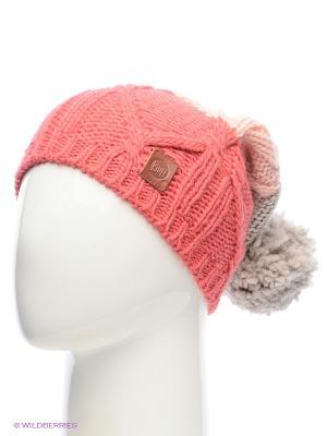 Шапка BUFF KNITTED HATS BRAID PARADISE PINK. Цвет: малиновый, розовый, серый