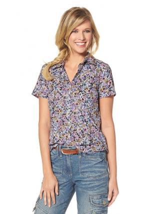 Блузка CHEER. Цвет: белый/лиловый/черный/голубой с рисунком