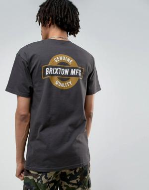 Brixton Футболка с принтом на спине Newell. Цвет: черный