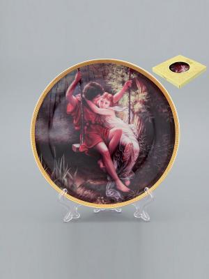 Тарелка декоративная Влюбленные на качелях Elan Gallery. Цвет: коричневый, бежевый, красный