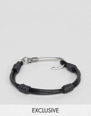 Seven London Черный кожаный браслет с крюком. Цвет: черный