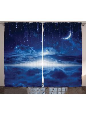 Комплект фотоштор Синяя ночь, 290*265 см Magic Lady. Цвет: синий,голубой,белый