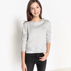 Пуловер с круглым вырезом, из тонкого трикотажа 10-16 лет La Redoute Collections. Цвет: серый меланж