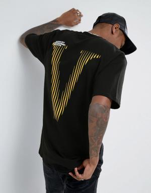 Vision Air Черная футболка с принтом на спине Visionair. Цвет: черный