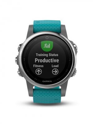 Умные часы Fenix 5S серебристые с бирюзовым ремешком GARMIN. Цвет: бирюзовый, серебристый