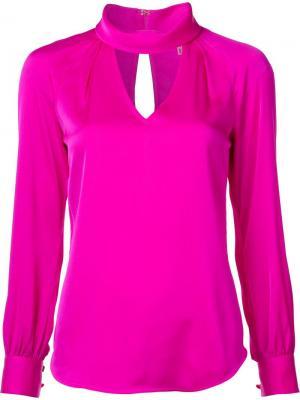 Блузка с вырезной деталью Trina Turk. Цвет: розовый и фиолетовый