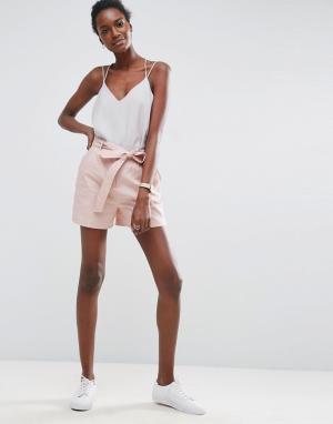 ASOS Льняные шорты с поясом. Цвет: розовый