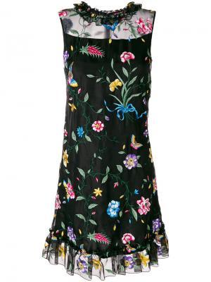 Платье Flossie с оборками и цветочной вышивкой Goat. Цвет: многоцветный