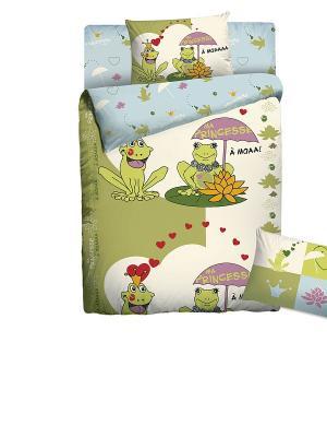 Постельное белье Веселые лягушки Волшебная ночь. Цвет: зеленый, темно-зеленый, кремовый, оранжевый