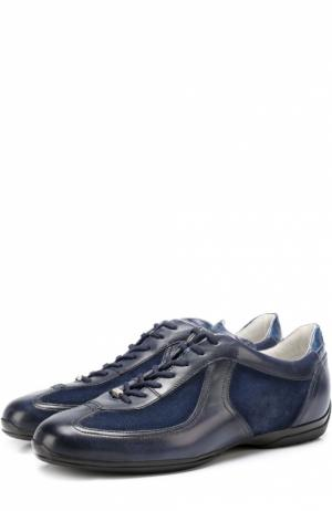 Кожаные кроссовки с замшевыми вставками Santoni. Цвет: темно-синий