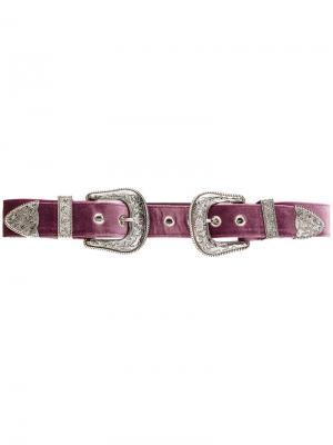 Ремень с двумя пряжками и заклепками B-Low The Belt. Цвет: розовый и фиолетовый