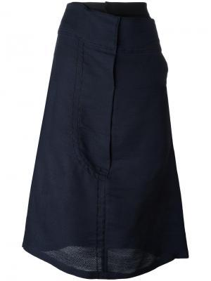 Асимметричная юбка миди Quetsche. Цвет: синий